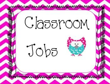 Chevron and Owl classroom job sign, can be hung over your job chart. This is a great way to bring in the Owl theme in with out changing the whole chart.