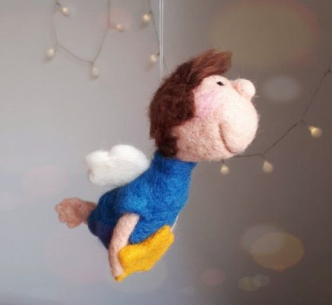 """Cute guardian angel Boy """"LIO"""" with star felted Angel Lucky Charm Gift baptism birth boy decoration Nursery trailer car -"""