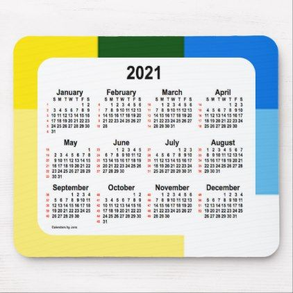 2021 52 Weeks Calendar By Janz Yellow Squared Mouse Pad Zazzle