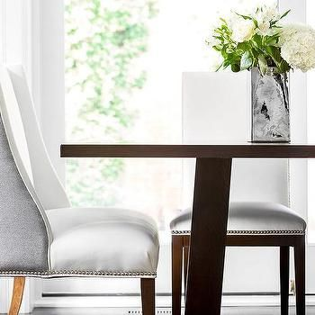 White And Gray Wingback Dining Chair With Images Grey Wingback