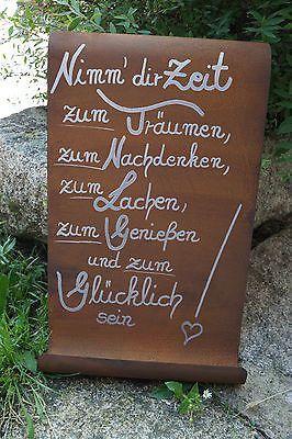 Edelrost Tafel Nimm Dir Zeit Spruch Garten Metall Dir