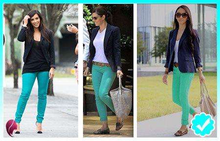 f6a50458f332 Pantalón turquesa outfits - como combinar un pantalón turquesa ...