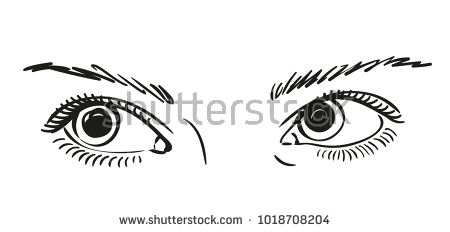 Sketch Of Beautiful Eyes Looking Up Right Vector Sketch Close Up