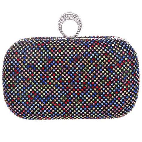 Ainemay Women Whole Crystal Ring Evening Handbags Rhinestone Hard Box Wedding Tail Clutch Purse
