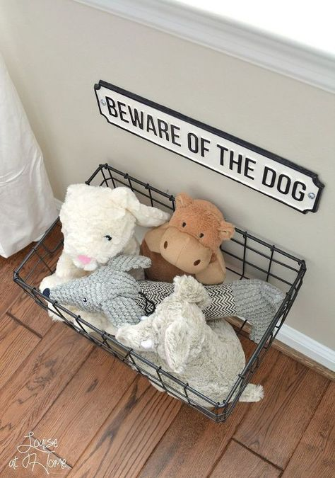 From dog bowls, pet beds, toys & tech, to pet gates, doggy doors & more. Check out our dog room decor wrap-up for all the best dog room decorating ideas. Dog Toy Storage, Diy Storage, Storage Ideas, Creative Storage, Hanging Storage, Photo Storage, Diy Hanging, Hanging Wire, Storage Solutions
