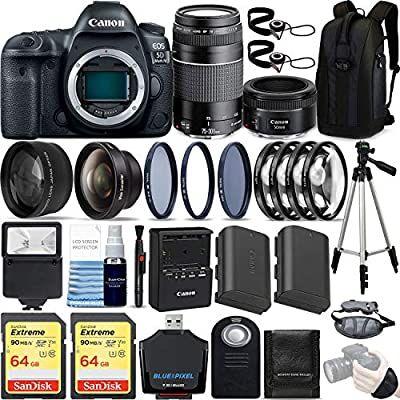 Canon Eos 5d Mark Iv 30 4 Mp Dslr Full Frame Camera Body With Ef 50mm F1 8 Stm Lens Ef 75 300mm F4 5 6 Iii Lens Kit Ultimate In 2020 Canon Eos Full Frame Camera Eos