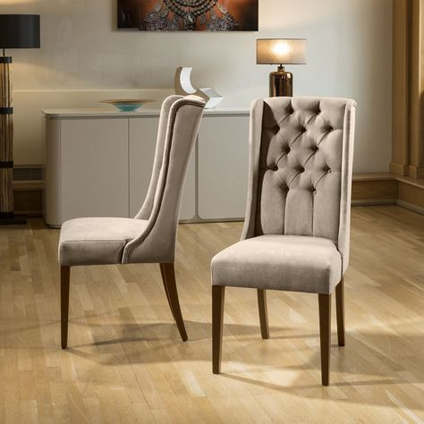 Luxury Made To Order Premium High Back Velvet Buttoned Dining Chair X2