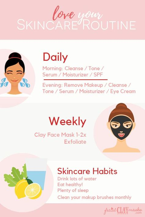 It's easy to forget and get in bad habits with our skincare. AKA going to bed with our makeup on.  Best practice skincare routine calendar with daily and weekly skincare to-do's and best followed habits.  #skincare #skin #beautyhacks #skincareroutine #skincarecalendar #beautyroutine #infographic #beautyinfographics #exfoliate #facemask