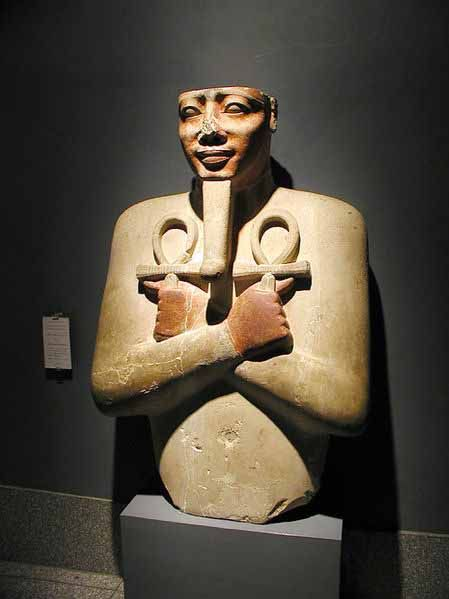 "Senusret I (also Sesostris I and Senwosret I) was the second pharaoh of the Twelfth Dynasty of Egypt. He ruled from 1971 BC to 1926 BC, and was one of the most powerful kings of this Dynasty. He was the son of Amenemhat I and his wife Nefertitanen. His wife and sister was Neferu. She was also the mother of the successor Amenemhat II. Senusret I was known by his prenomen, Kheperkare, which means ""the Ka of Re is created."""
