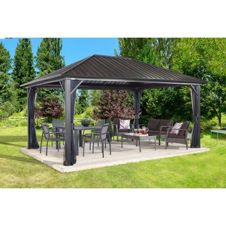 Sojag Genova 12 X 16 Gazebo Galvanised Steel Roof Mosquito Netting Walmart Com Patio Gazebo Outdoor Gazebos Steel Gazebo