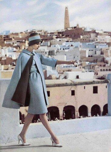 Retro Fashion wool dress and wool reversible cape by Nina Ricci, photo by Roland de Vassal, Algiers, 1960