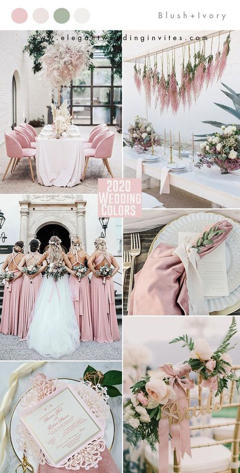 This blush pink, green and ivory spring wedding color palette would also work well for a soft summer wedding color scheme. Such a beautiful, classic combination of colors!   #springwedding #weddingcolorpalette #weddingcolorscheme #weddingcolors #summerwedding #springweddingcolors #summerweddingcolors #springweddingdecor #summerweddingdecor #pinkweddingflowers #greenery #weddingflowers