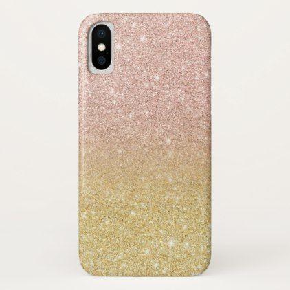 Modern Rose Gold Glitter Ombre Gold Glitter Iphone X Case Chic Design Idea Diy Elegant Beautiful Stylis Glitter Iphone Case Sparkle Phone Case Glitter Iphone
