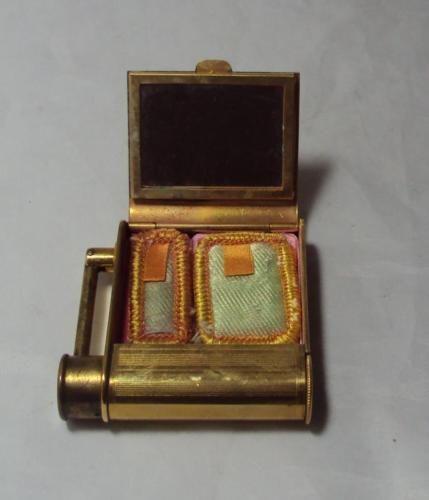 1930s vintage compact Brass engine turned handbag mirror
