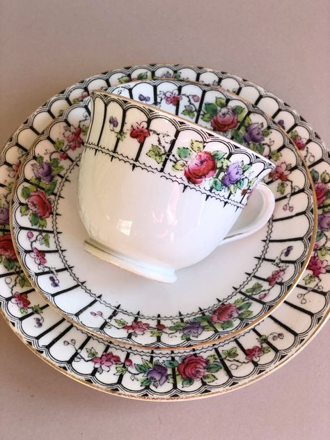 Antique Tea cup Trio Saucer, Cake plate Royal Standard White & Black bone china