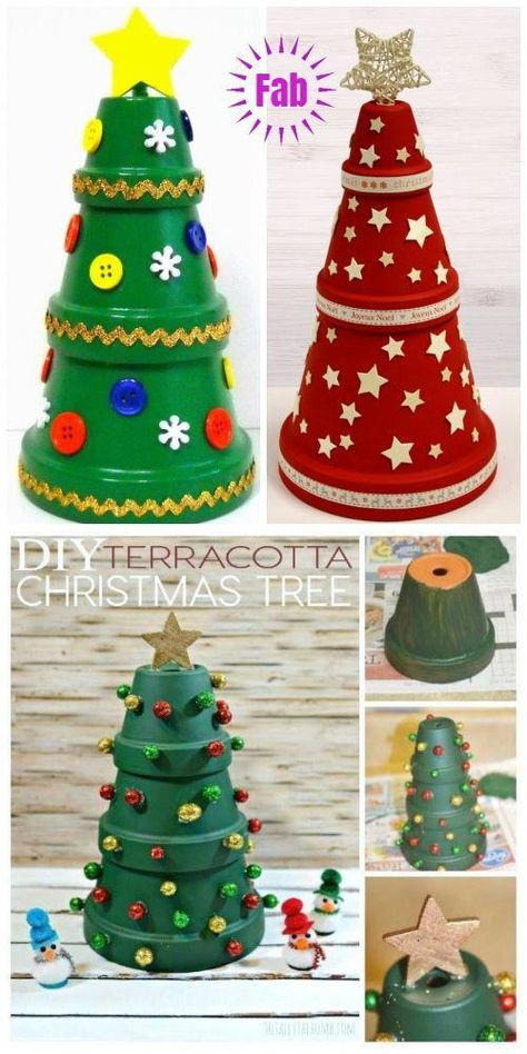 DIY Terra Cotta Flower Pot Christmas Decorations & Craft Tutorials - Clay Pot Christmas Tree DIY Tutorial DIY Clay Pot Projects for Your Christmas decorating fun! Potted Christmas Trees, Diy Christmas Tree, Christmas Crafts For Kids, Homemade Christmas, Christmas Projects, Decor Crafts, Holiday Crafts, Christmas Ornaments, Craft Decorations