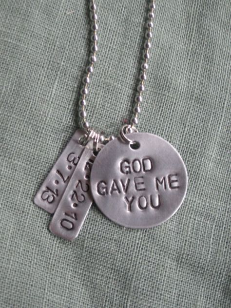 FREE SHIP Metal Stamped God Gave Me You by thelittlecraftcloset, $42.00
