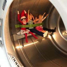 Elf on a shelf dryer roller coaster ride! Christmas Elf, Christmas Humor, Christmas Ideas, Christmas Pranks, Christmas Letters, Christmas Images, Christmas Wrapping, Christmas Decorations, L Elf