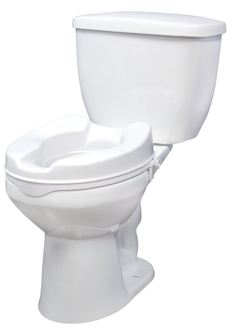 This Raised White Toilet Seat By Drive Medical Attaches Tool Free