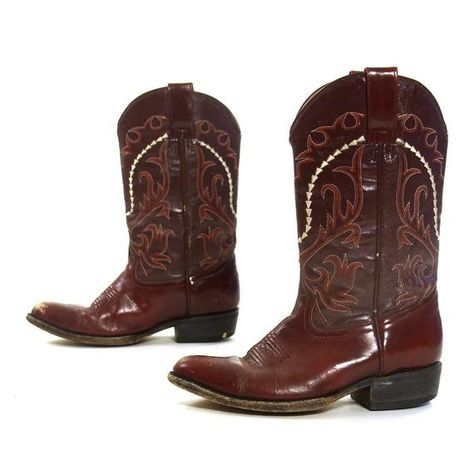 c7a13f219b0 70s Burgundy Leather Cowboy Boots Vintage Embroidered Mid Calf Pull ...