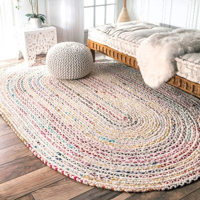 Trule Christie Striped Handmade Braided Cotton Off White Area Rug Wayfair In 2020 Rag Rugs Oval