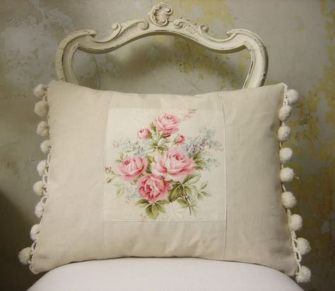 french vintage fabric cushion
