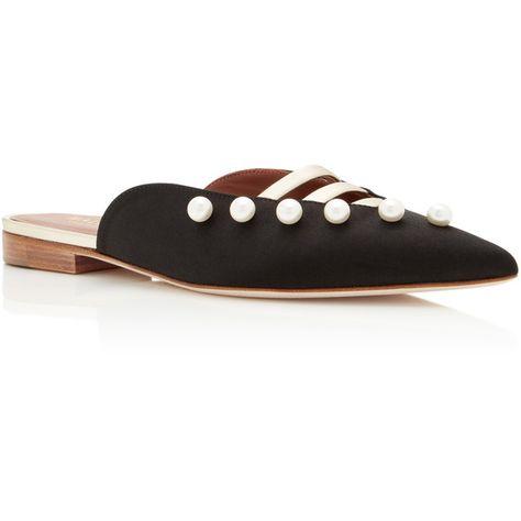 MALONE SOULIERS Zelda Leather-Trimmed Silk-Satin Point-Toe Flats eew7a7nb1
