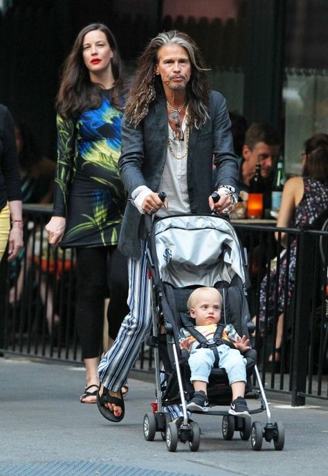 Pregnant actress Liv Tyler and her father Steven Tyler spend some father/daughter time together with her kids in New York City, New York on June 23, 2016.