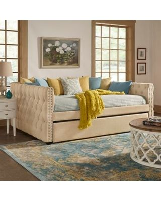 Astounding Inspire Q Cambria Queen Daybed With Trundle In Beige From Machost Co Dining Chair Design Ideas Machostcouk