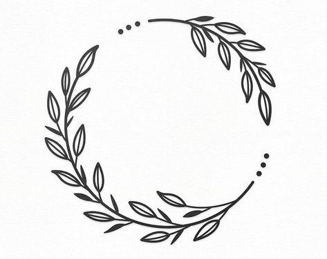 Flower Wreath SVG Craft Pattern Floral Frame SVG Flower SVG | Etsy