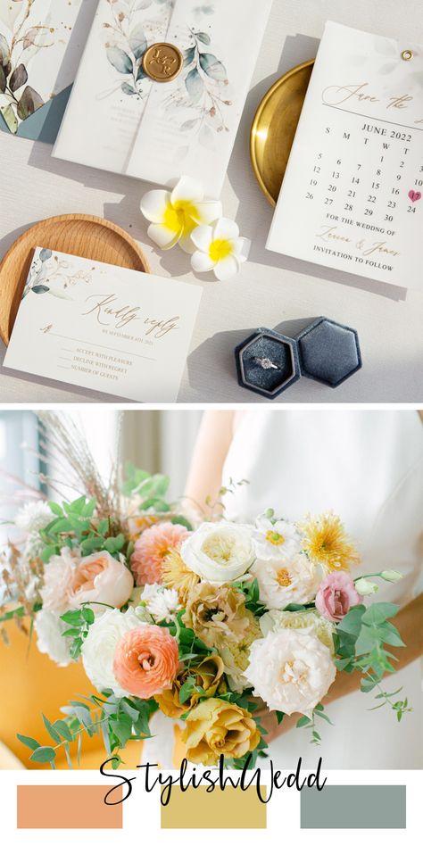 Romantic wedding color combo. #weddingideas#weddinginvitations#stylishwedd#vellumweddinginvitations#savethedate#weddingstationery