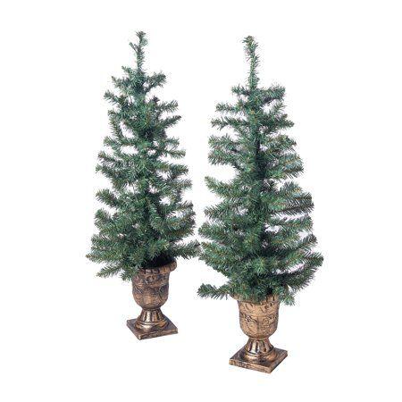 Holiday Time Prelit Bronze Conical Christmas Trees Set Of 2 3 5 Ft Walmart Com Outdoor Christmas Tree Pre Lit Christmas Tree Porch Trees