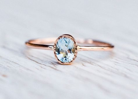 Stunning aquamarine ring handcrafted in 14k rose gold, oval gemstone ring. Beautiful and dainty gemstone engagement ring. Aquamarine is the birthstone of