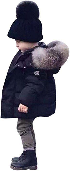 Kehen Boy Girl Winter Hooded Trench Coat Warm Zipper Down Jacket Thick Outerwear