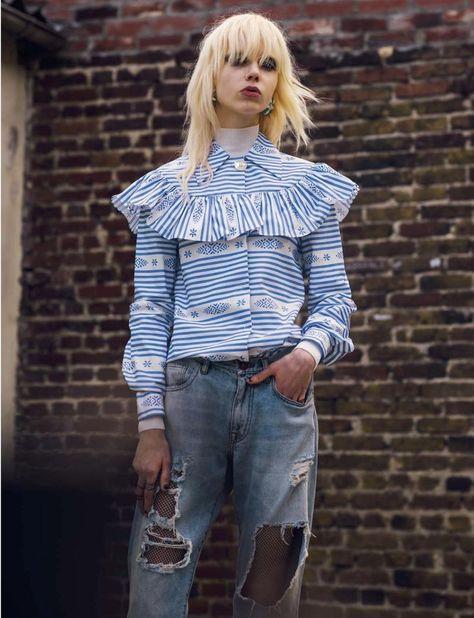 This is England: Cheyenne Keuben for L'Officiel Spain December 2015 - Miu Miu Fall 2015 blouse