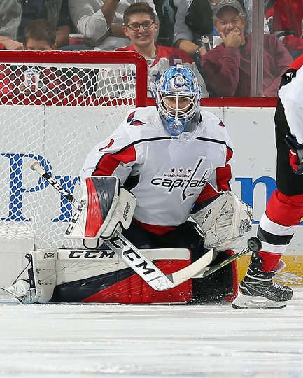 Newark Nj October 11 Pheonix Copley 1 Of The Washington Capitals Playing In His First Nhl Game Watches The Puc Goalie Pads Goalie Mask Washington Capitals