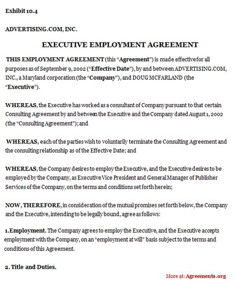 Executive Employment Agreement #executive #employment #agreement - self employment agreement