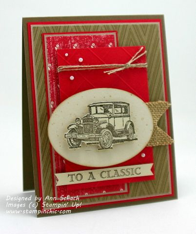 Stampin' Up! ... handmade card ... kraft and red ... Vintage look ... Model T ... lots of layers ... burlap and twine ... luv it!