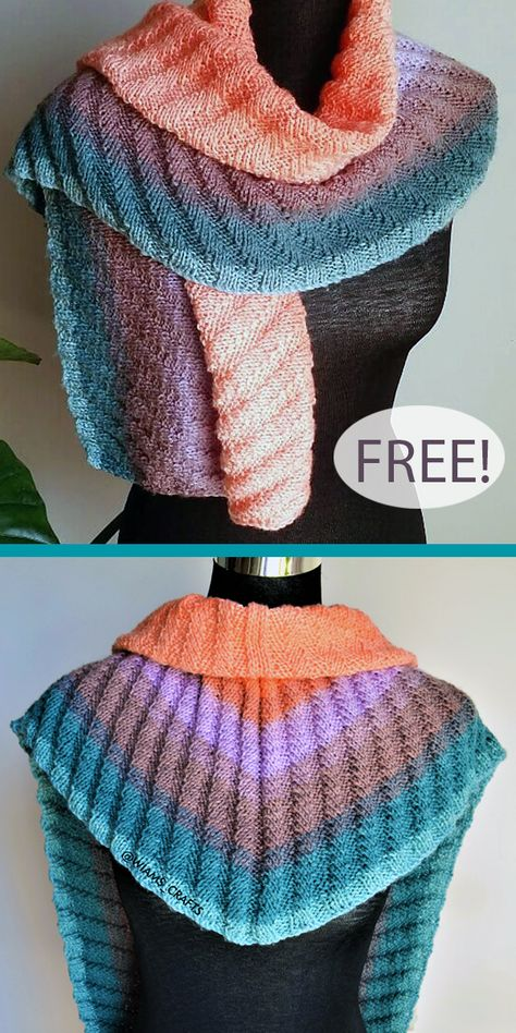Free Knitting Pattern for One Skein Ribbed Shawlette - Triangular chevron shaped shawl with an textured rib design that showcases ombre or color change cake yarn. Designed by Wiam's Crafts. Uses just 1 skein of the recommended Lion Brand Mandala yarn. DK weight yarn.