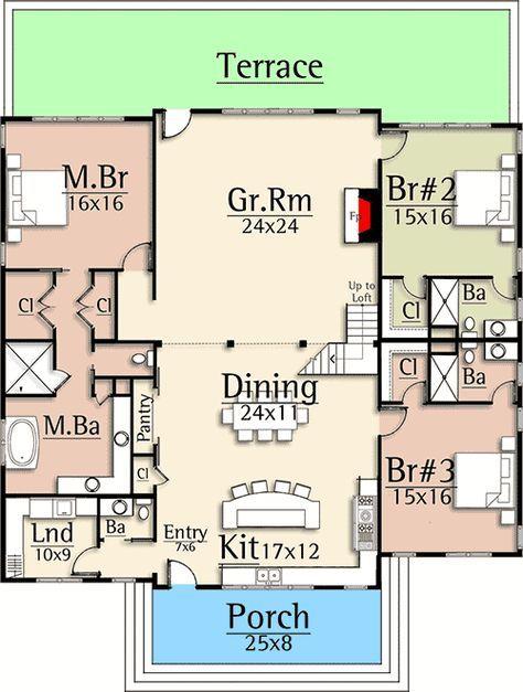 Plan 18877ck Split Bedroom Country Inspired Vacation House Plan Square House Plans Vacation House Plans Pole Barn House Plans