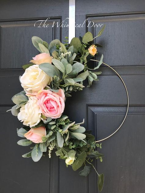 Boho hoop wreath bohemian floral wreath wedding wreath bridal wreath Farmhouse wreath floral hoop wreath wreaths for  front door