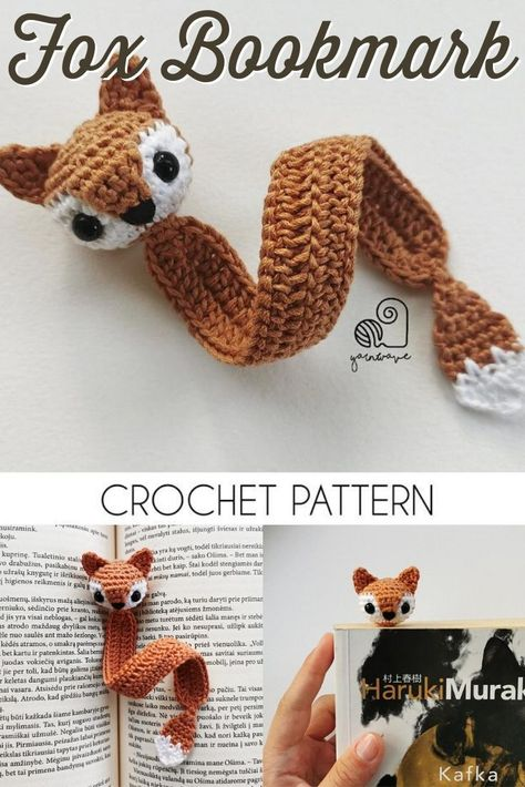 Mini Amigurumi Fox Bookmark Crochet Pattern | Yellow Patterns