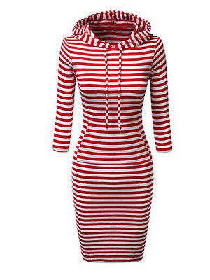 Women's hooded striped lace-up sweatshirt dress | Color block bodycon dress, Dresses, Bodycon dress with sleeves
