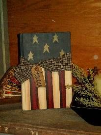 Americana Painted Book - Old books recycled into art, and handpainted.