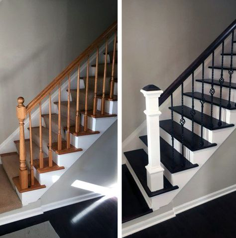 32 Incredible DIY Staircase Makeover Ideas to Refresh the Entire Home Atmosphere - Einrichtung - Escadas Painted Staircases, Staircase Railings, Banisters, Modern Staircase, Staircase Design, Stairways, Staircase Ideas, Black Staircase, Wrought Iron Stair Railing