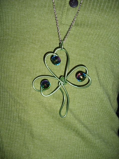She Rocks Shamrocks Clover Green Wire & Jewel Tone by Amazannattic, $25.00