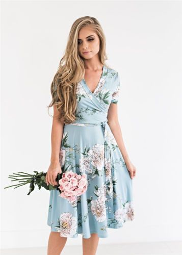 96a57627c84ac Women-Floral-Print-Short-Sleeve-Dress-Ladies-Boho-Long-Maxi-Summer ...