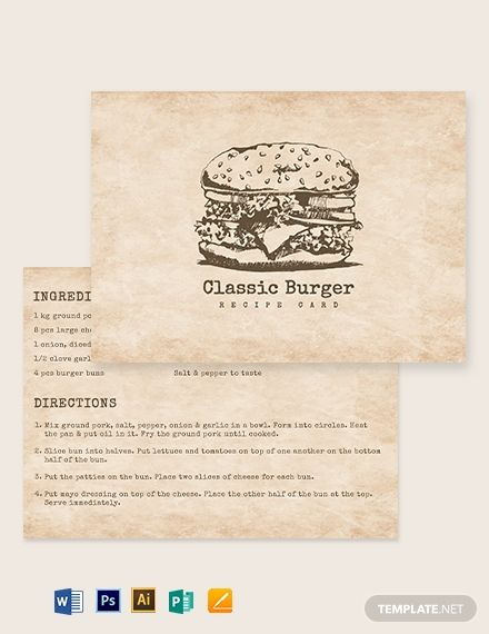 Vintage Recipe Card Template Word Doc Psd Apple Mac Pages Illustrator Publisher Recipe Cards Template Recipe Cards Vintage Recipes