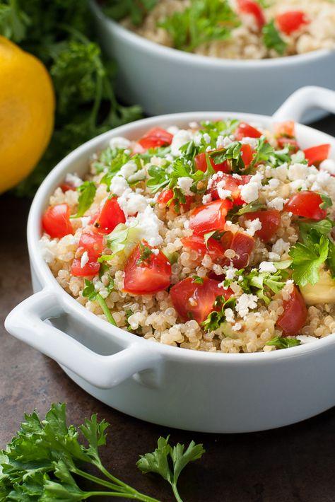 Healthy Quinoa Salad with Tomato, Avocado, and Parsley