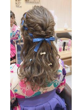 編み込みハーフアップ 卒業式 髪型 卒業式ヘアスタイル 卒業式 袴 髪型